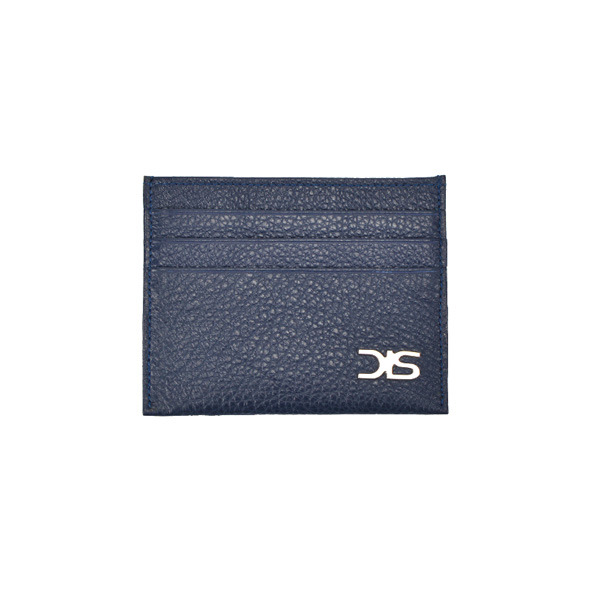Blue calf leather card holder