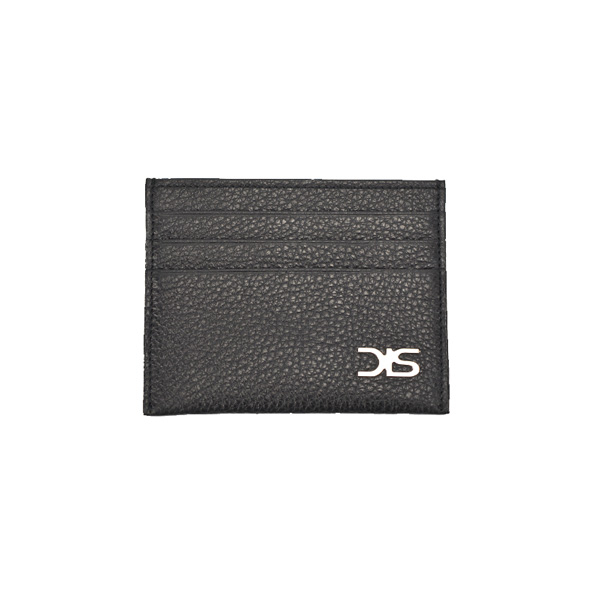 Black calf leather card holder