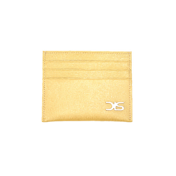 Gold Saffiano leather card holder